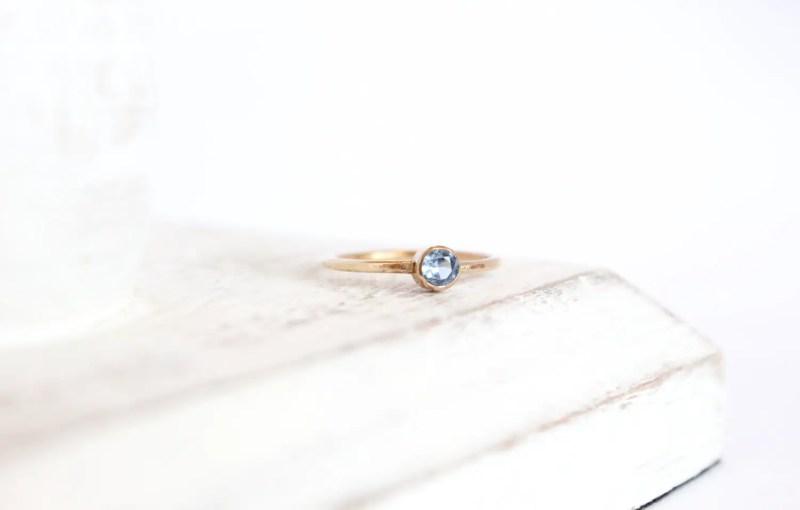 aquamarine and gold ring | via Best Aquamarine Jewelry Finds on Etsy - http://emmalinebride.com/bride/best-aquamarine-jewelry/