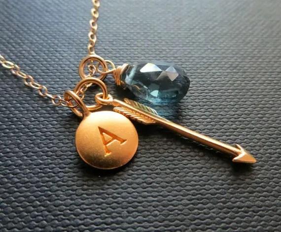 arrow bridesmaid necklace birthstone