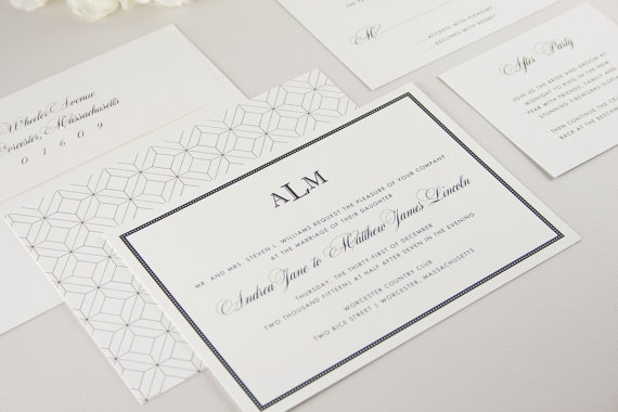 astoria patterned modern classic wedding invitations