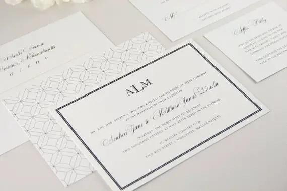 astoria patterned modern classic wedding invitations