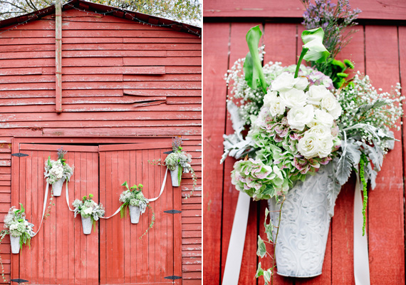 Rustic Fall Ceremony Ideas - red barn as ceremony backdrop (photo by harwell photography)