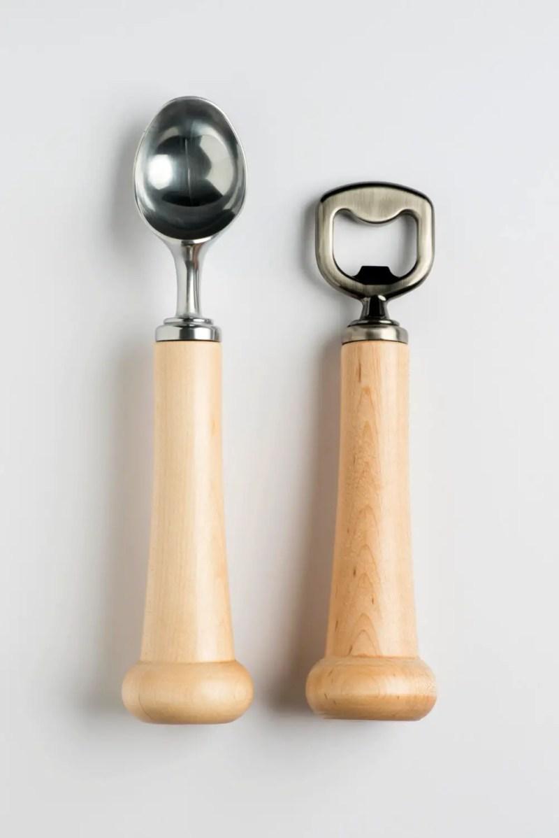 baseball bat bottle opener and ice cream scoop