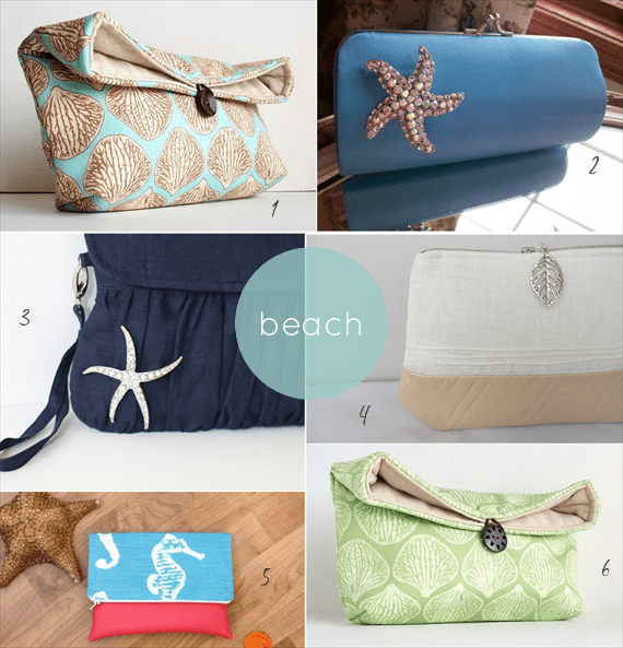beach wedding clutches by theme