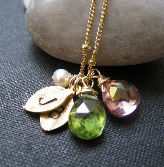 Birthstone Bridesmaid Jewelry - leaf initials