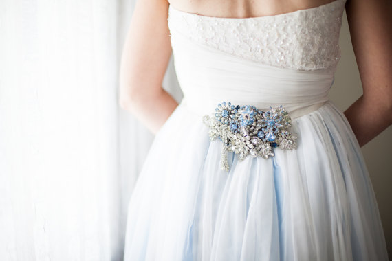 blue silver brooch dress sashes