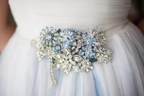 blue silver brooch sash