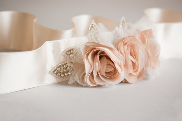 blush wedding dress sash