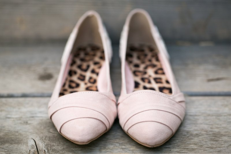 blush wedding flats with leopard sole | via 31 Best Handmade Wedding Shoes http://emmalinebride.com/bride/handmade-wedding-shoes/