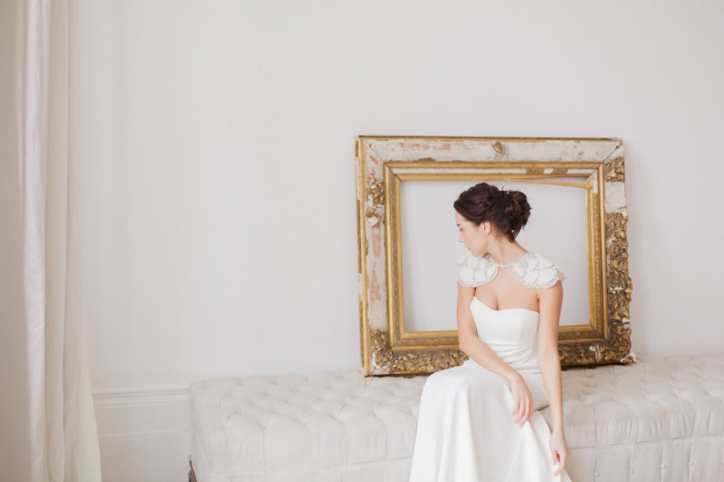 This stunning bridal bolero will add drama to your gown. | http://emmalinebride.com/bride/wedding-cover-ups/