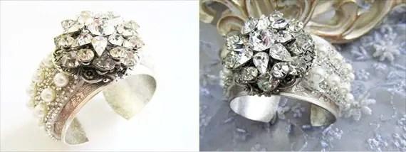 Rhinestone Bridal Cuff (by CloeNoelDesigns.com via EmmalineBride.com) #handmade #wedding #jewelry