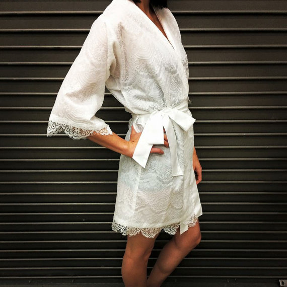 Bridal Robe To Get Ready In: Lace Getting Ready Robe For The Bride
