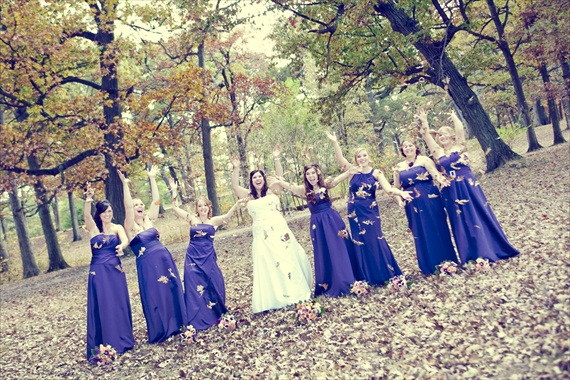 Planning a Fall Wedding - bride and bridesmaids fall wedding leaves (photo: fusion productions)
