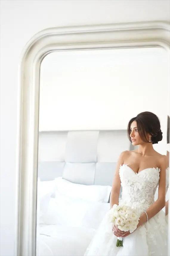 bride bun with side bangs