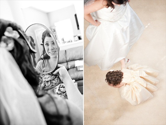 Vintage Fall Wedding - bride looking in mirror; twirling with flower girl