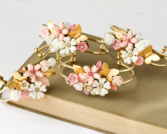 pink and cream floral cuff bracelets for bridesmaids #wedding #jewelry