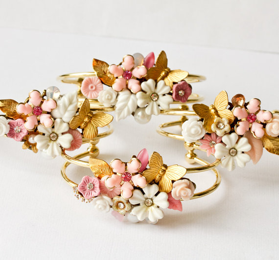 floral cuff bracelets - pink and cream