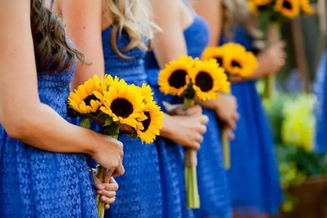 Dark Blue And Yellow Wedding: Sunflower Wedding Bouquets
