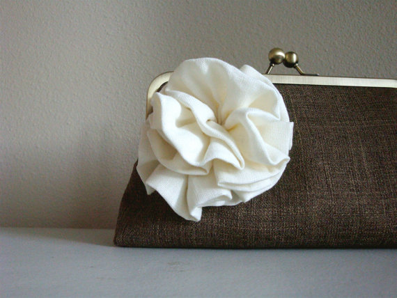 burlap clutch purse with white flower