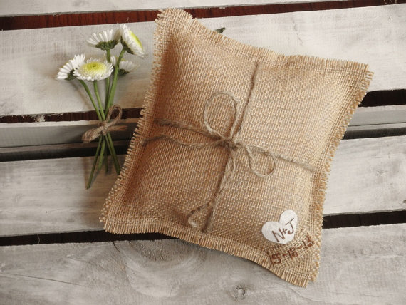 What's Hot in The Marketplace - burlap ring pillow by the artsy hippie