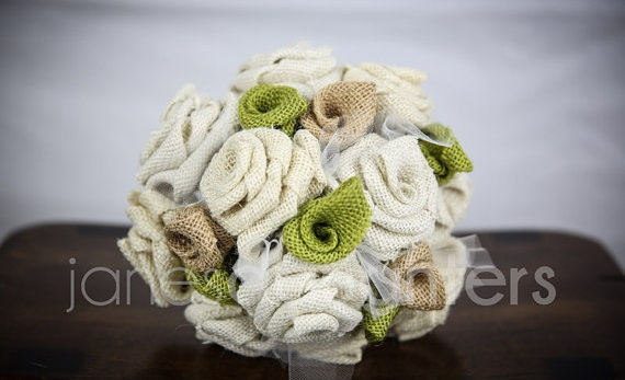burlap wedding bouquets (by jane's daughters)