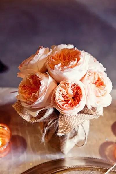burlap wrapped vases
