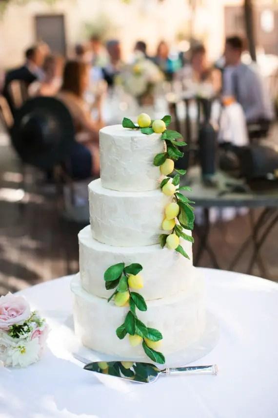 Wedding Cake Cascading Lemons via 30 Wedding Cakes via EmmalineBride.com