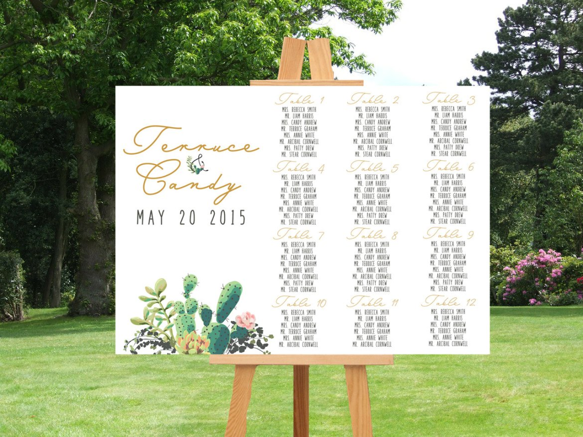 cactus weddings seating chart by lisasgraphicdesign