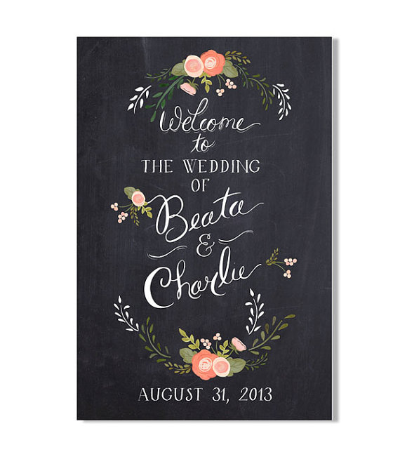 chalkboard inspired floral wedding welcome sign by the first snow | signs entrance weddings | http://emmalinebride.com/decor/signs-entrance-weddings/