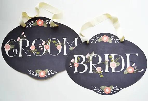 14 Chalkboard Wedding Ideas - chalkboard wedding chair signs (by the first snow)