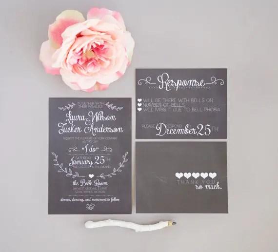 chalkboard wedding invitation via 8 Whimsical Wedding Invitations
