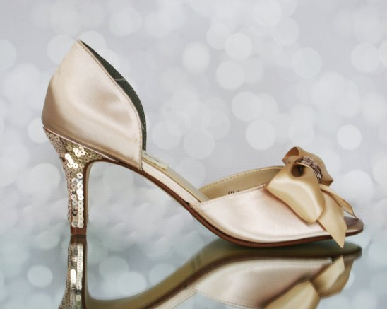 champagne jeweled wedding shoes with sequins