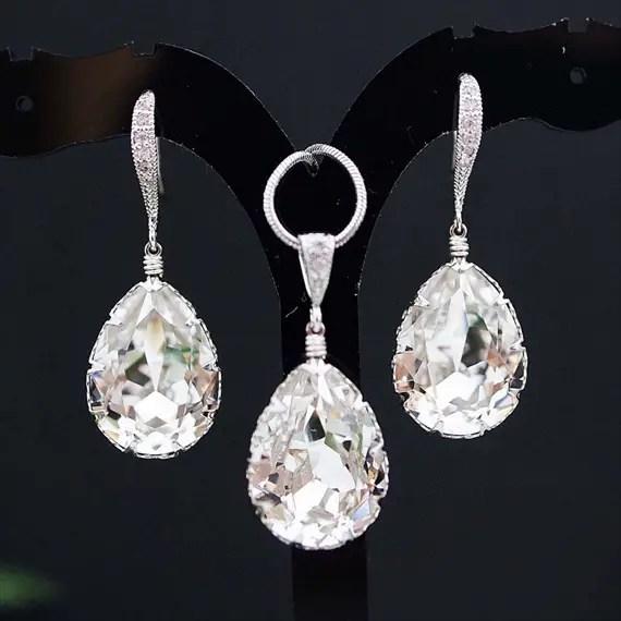 clear white swarovski bridal jewelry set