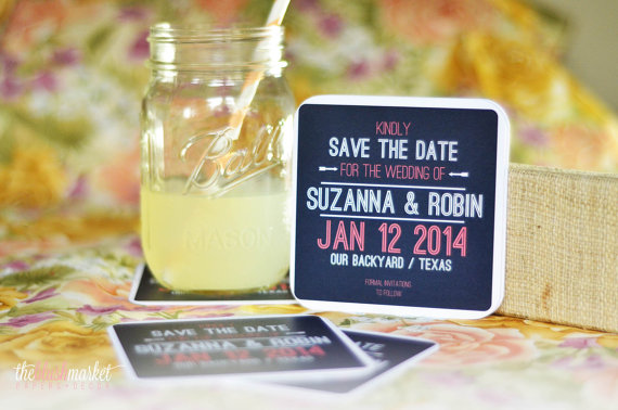 6 Creative Save the Date Ideas - coaster save the date by the blush market