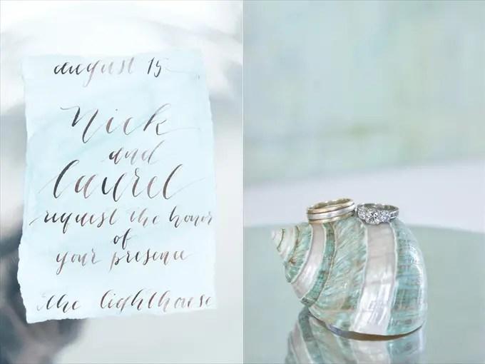 Calligraphy Invitations | photo: christine glebov | calligraphy: a quaint soiree | via A Dreamy Seaside Wedding Shoot at Glen Cove Marina http://emmalinebride.com/real-weddings/seaside-wedding-glen-cove-marina/