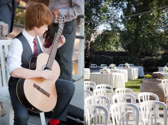 rustic chic arizona wedding at Shenandoah Mill guitar player table setup