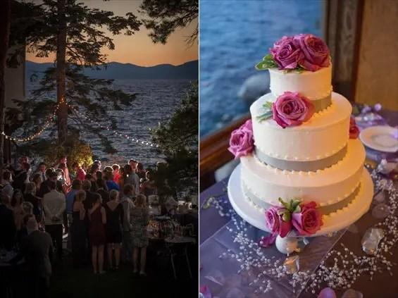 Johnstone Studios - thunderbird lodge wedding - wedding cake and reception overlooking lake tahoe
