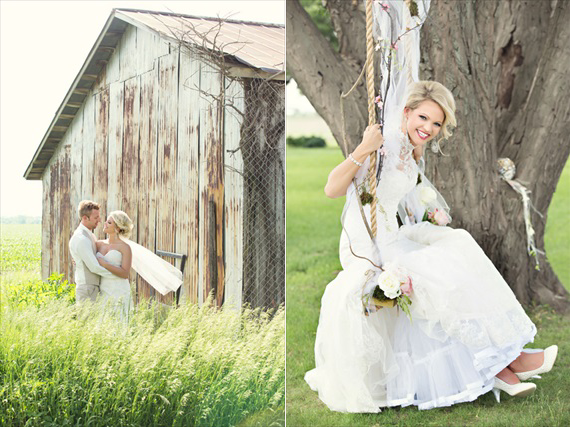 KimAnne Photography - iowa-backyard-wedding - bride-with-groom-in-field-with-barn-bride-on-swing