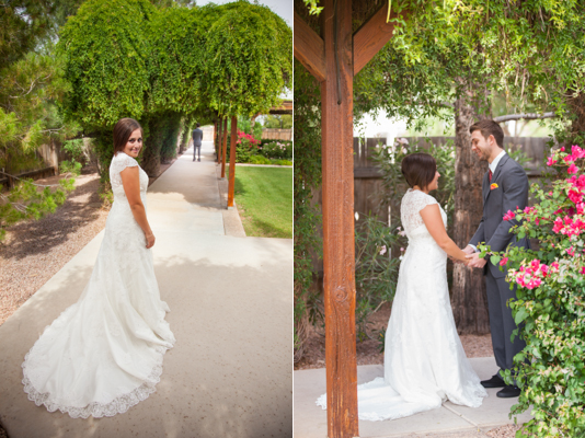 rustic chic arizona wedding bride and groom first look at Shenandoah Mill