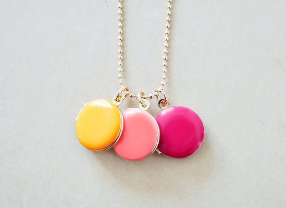 colorful lockets trio by the blooming thread via Colorful Wedding Accessories at emmalinebride.com