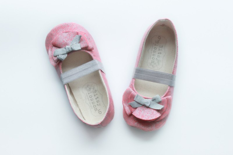 coral flower girl shoes