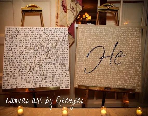 custom he she vow art prints