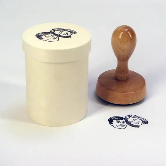 Custom portrait rubber stamp | http://emmalinebride.com/invites/custom-portrait-rubber-stamp/