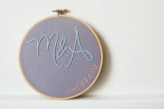 reusable wedding decorations - custom wedding embroidery hoop
