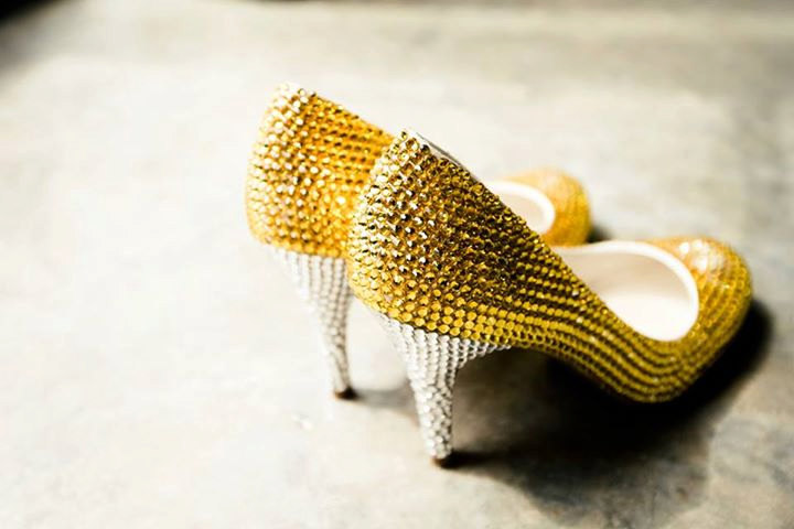 custom yellow swarovski crystal wedding shoes | via 31 Best Handmade Wedding Shoes http://emmalinebride.com/bride/handmade-wedding-shoes/