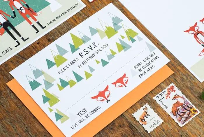 cute fox wedding invitations by 3eggsdesign | Fox Ideas Weddings via http://emmalinebride.com/rustic/fox-ideas-weddings/