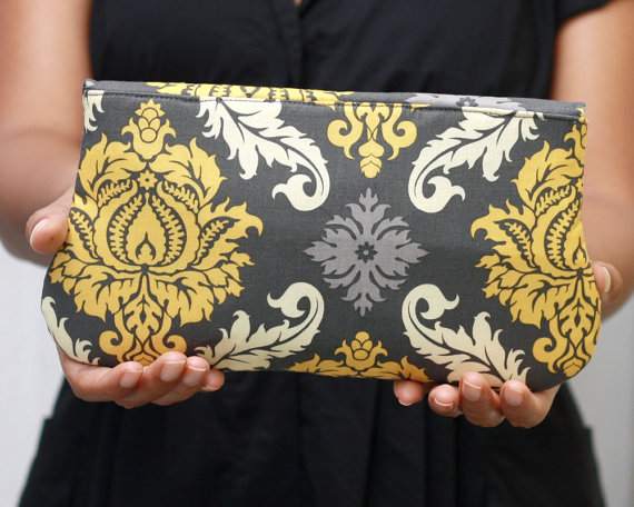 Gray and Yellow Damask Clutch Purse (by Oyeta)