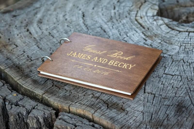 dark wood guest book by woodlack
