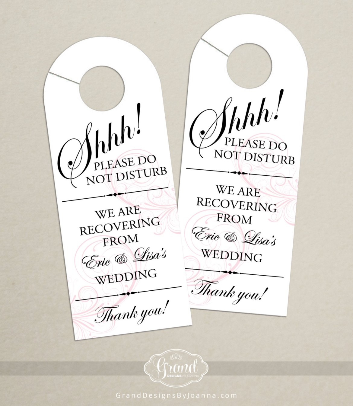 Wedding Door Hanger | What to Put in Wedding Welcome Bags | http://emmalinebride.com/planning/wedding-welcome-bags/