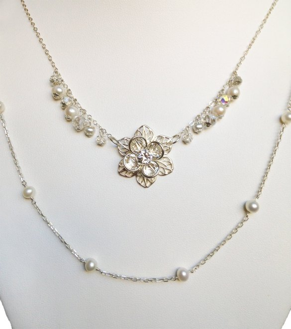 double strand wedding necklace