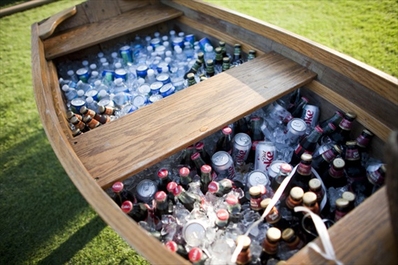 Wedding Drink Station Ideas - drinks in an old boat